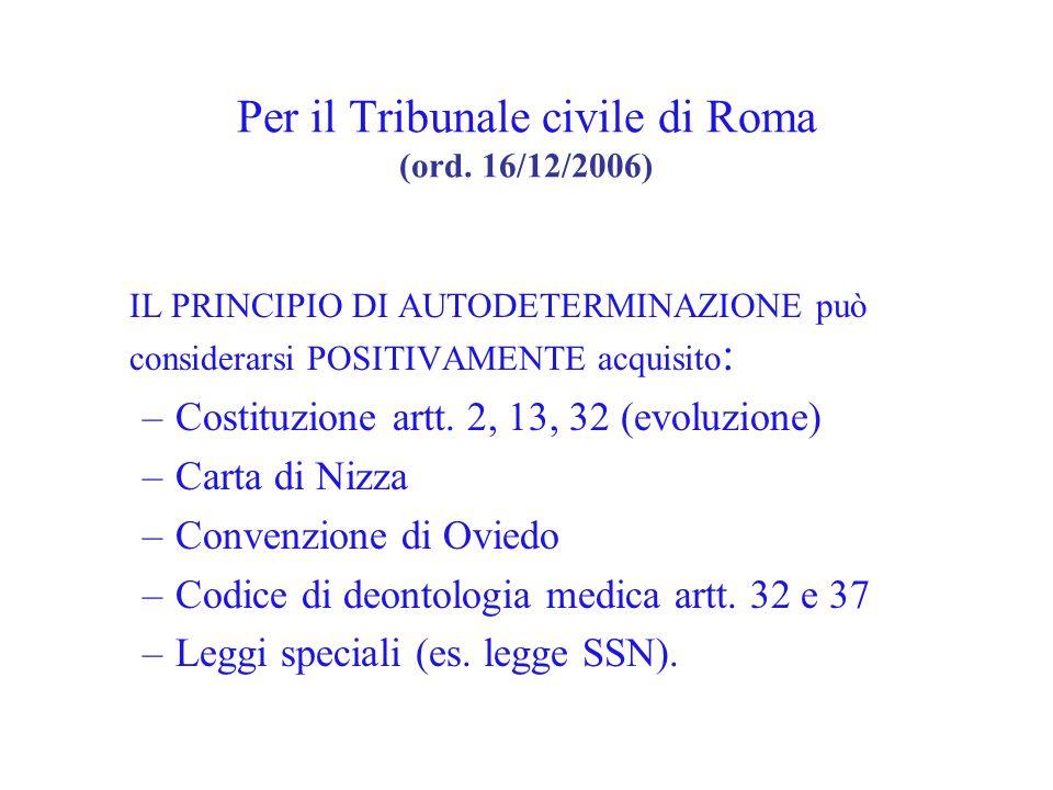 Per il Tribunale civile di Roma (ord. 16/12/2006)
