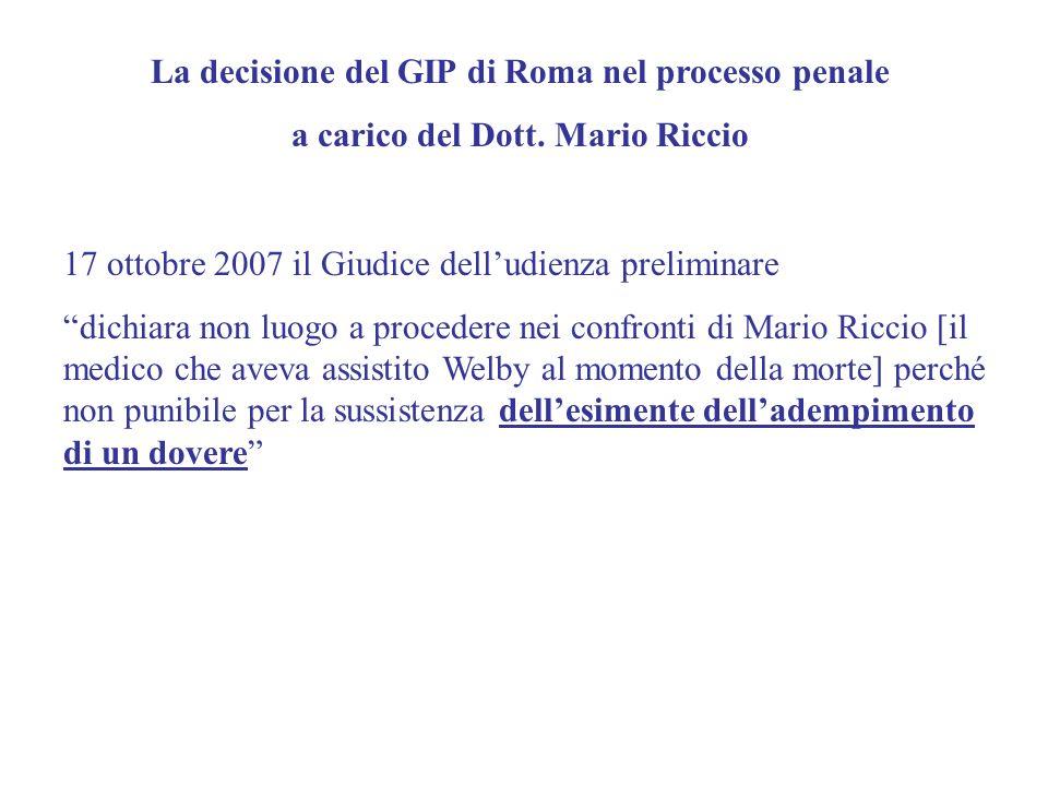 La decisione del GIP di Roma nel processo penale
