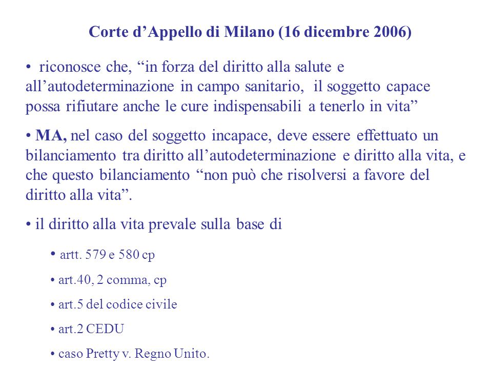Corte d'Appello di Milano (16 dicembre 2006)