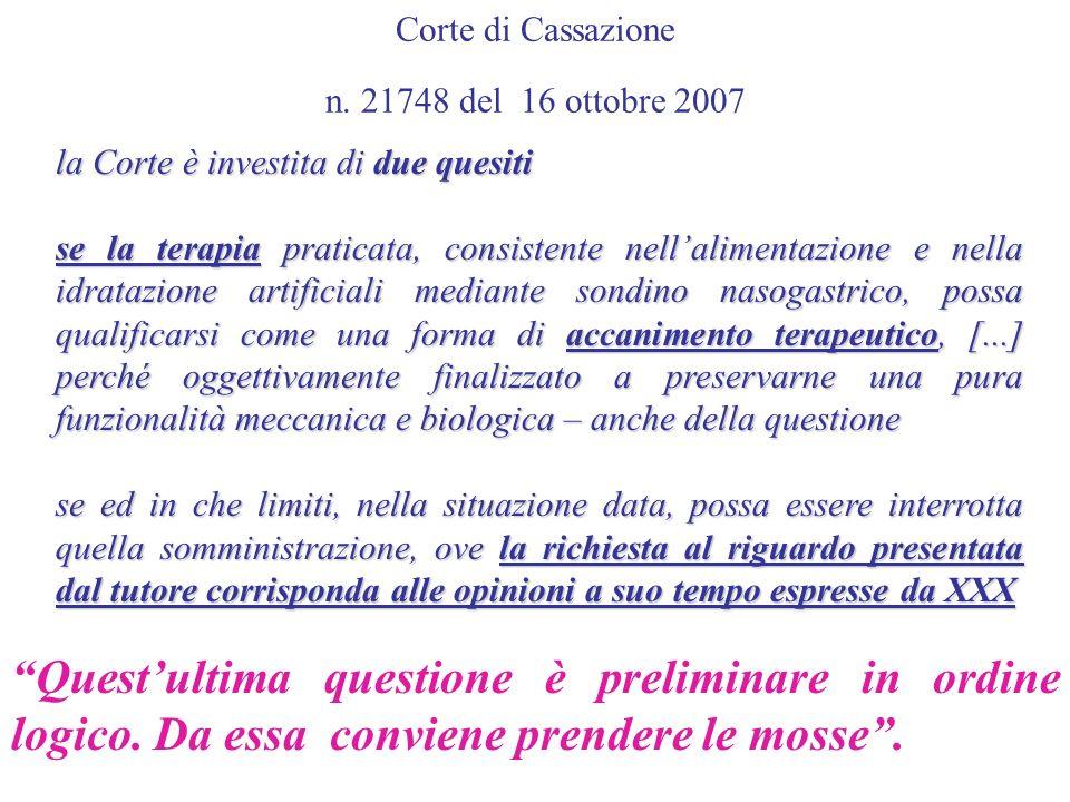 Corte di Cassazione n. 21748 del 16 ottobre 2007