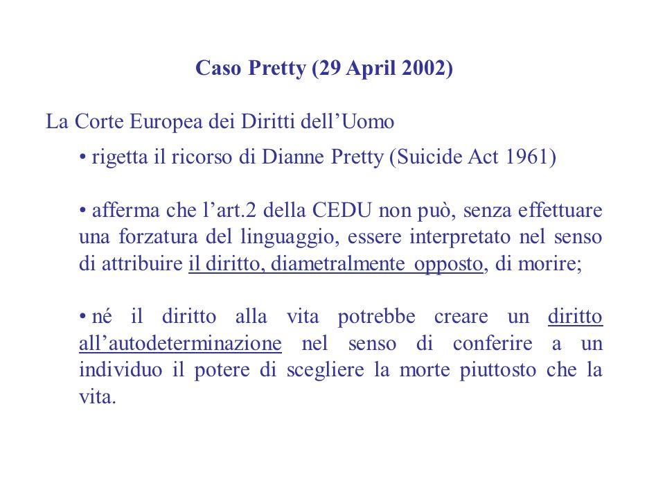 Caso Pretty (29 April 2002) La Corte Europea dei Diritti dell'Uomo. rigetta il ricorso di Dianne Pretty (Suicide Act 1961)