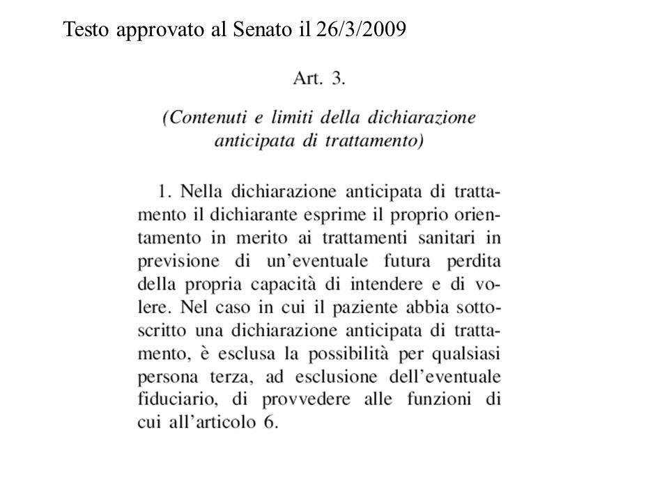 Testo approvato al Senato il 26/3/2009
