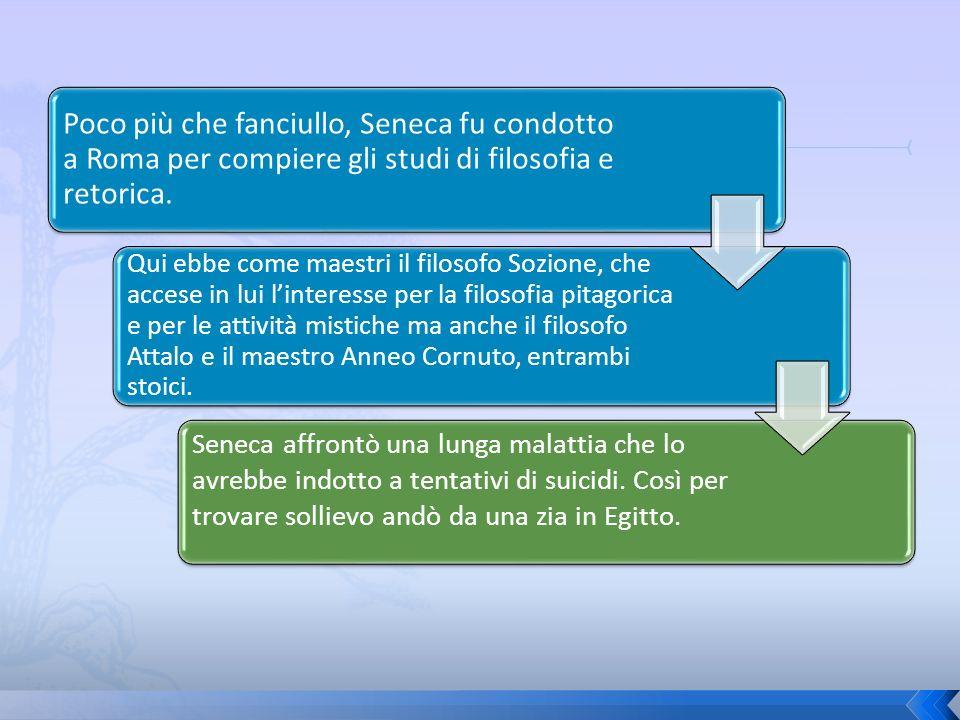 Poco più che fanciullo, Seneca fu condotto a Roma per compiere gli studi di filosofia e retorica.