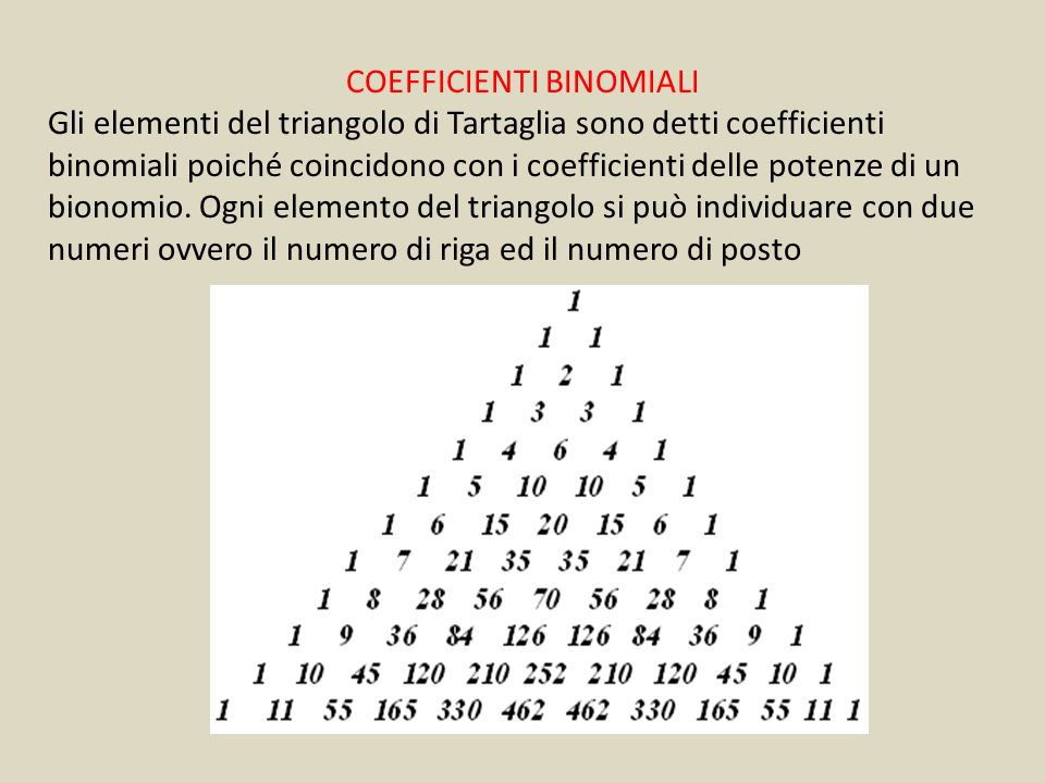 COEFFICIENTI BINOMIALI