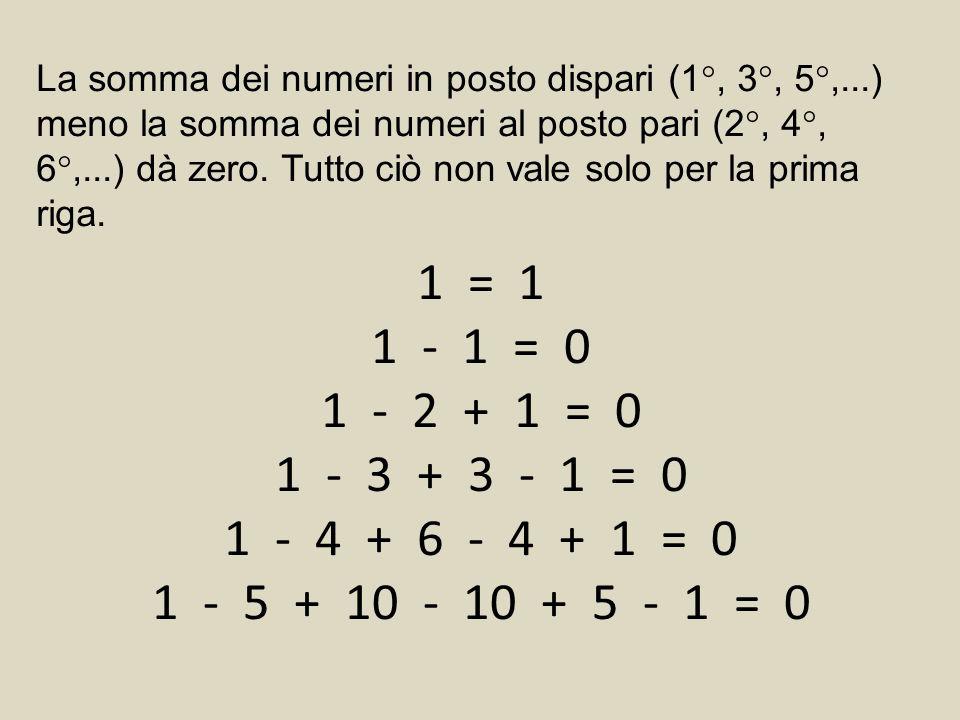 La somma dei numeri in posto dispari (1°, 3°, 5°,