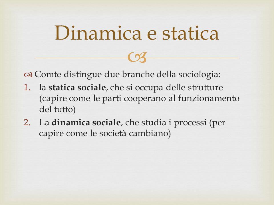 Dinamica e statica Comte distingue due branche della sociologia: