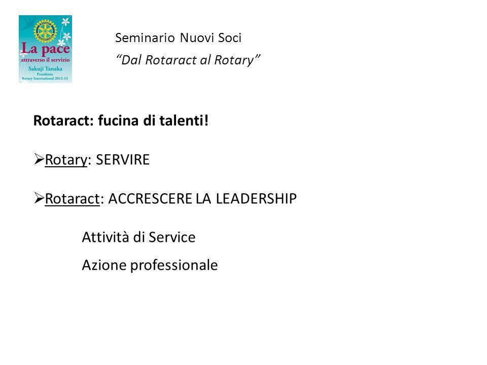 Rotaract: fucina di talenti! Rotary: SERVIRE