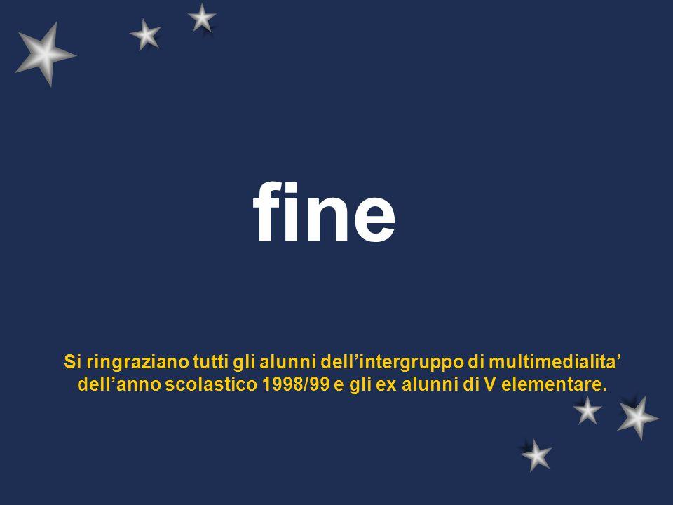 fine Si ringraziano tutti gli alunni dell'intergruppo di multimedialita' dell'anno scolastico 1998/99 e gli ex alunni di V elementare.