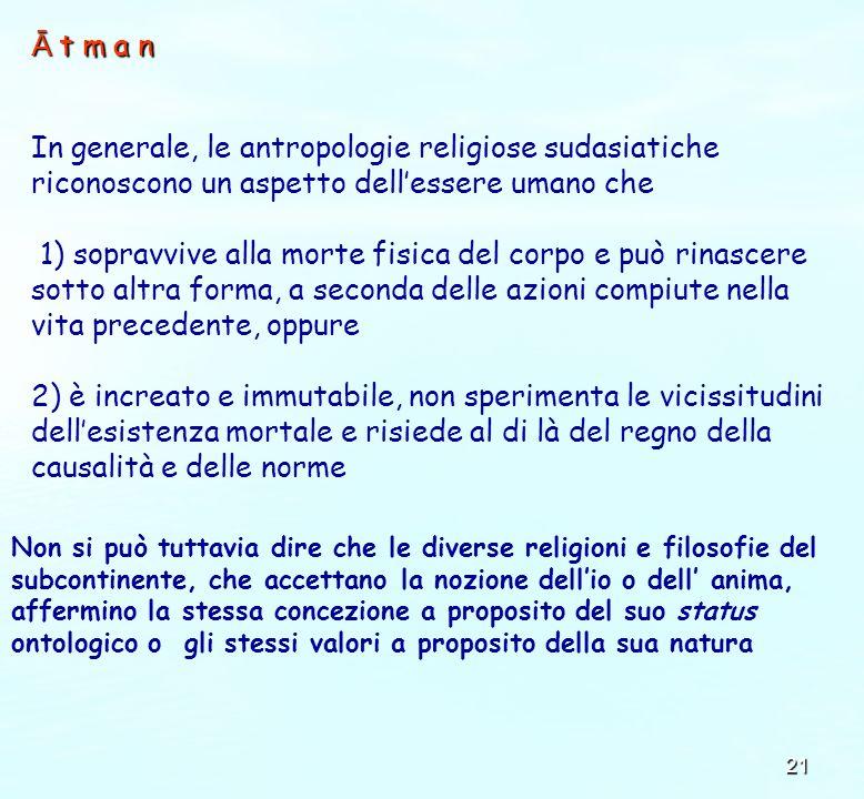 Ā t m a n In generale, le antropologie religiose sudasiatiche riconoscono un aspetto dell'essere umano che.