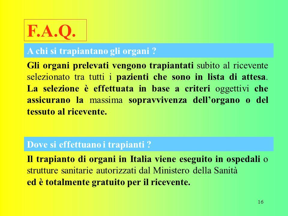 F.A.Q. A chi si trapiantano gli organi