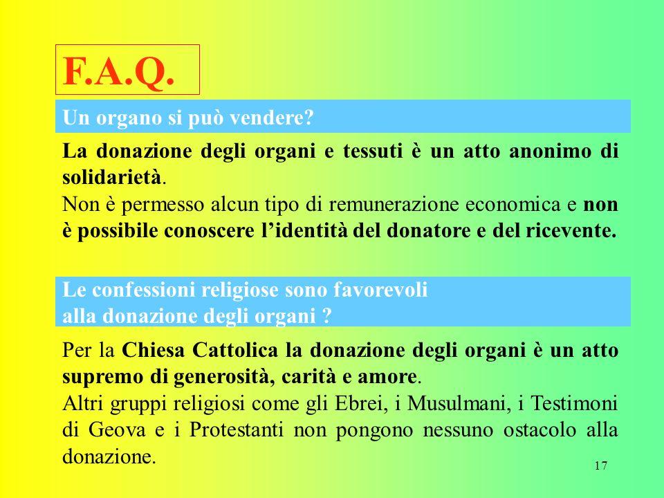 F.A.Q. Un organo si può vendere