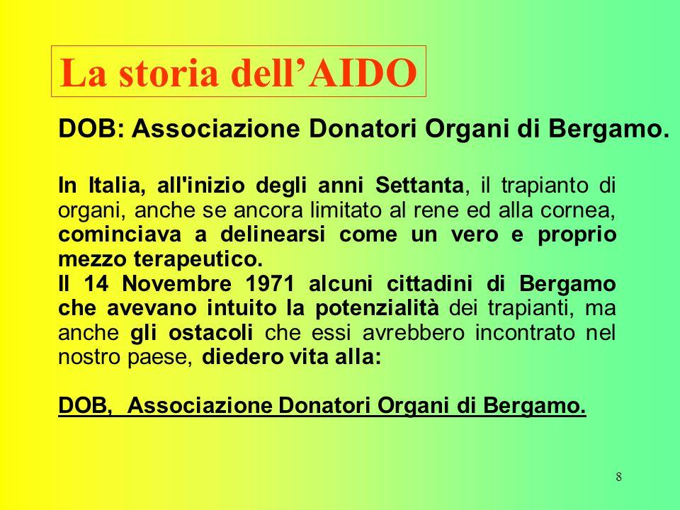 La storia dell'AIDO DOB: Associazione Donatori Organi di Bergamo.