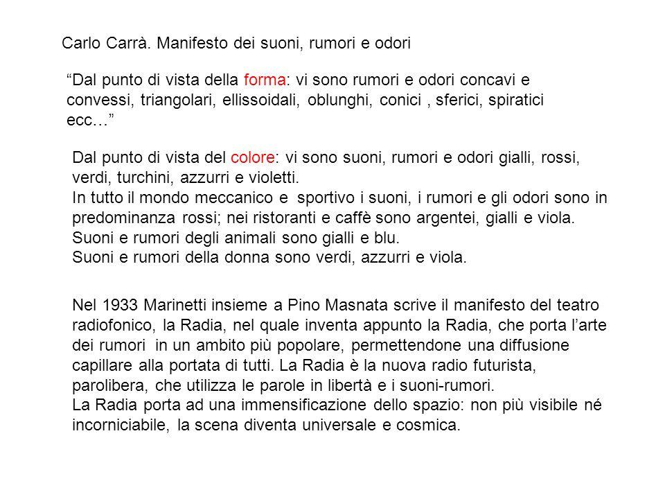 Carlo Carrà. Manifesto dei suoni, rumori e odori