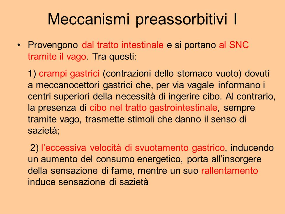 Meccanismi preassorbitivi I