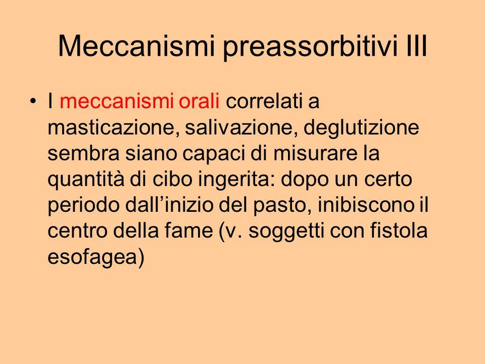 Meccanismi preassorbitivi III