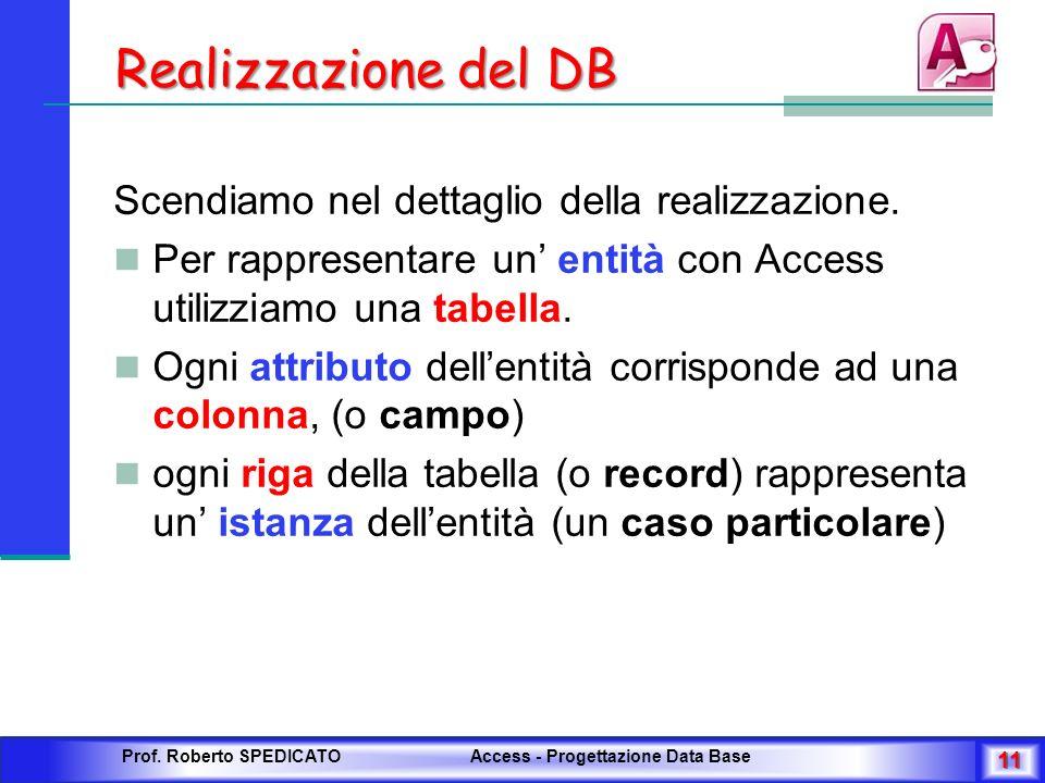 Realizzazione del DB Scendiamo nel dettaglio della realizzazione.