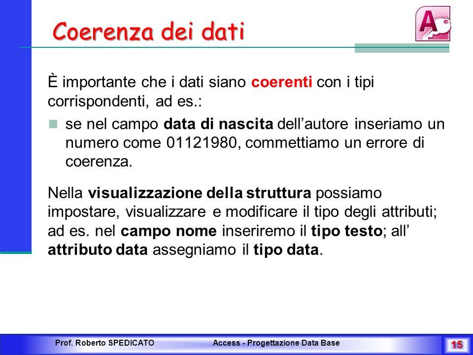 Coerenza dei dati È importante che i dati siano coerenti con i tipi corrispondenti, ad es.: