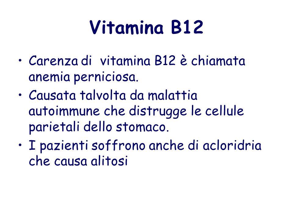 Vitamina B12 Carenza di vitamina B12 è chiamata anemia perniciosa.