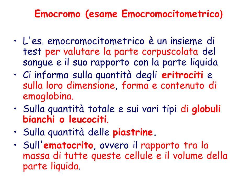 Emocromo (esame Emocromocitometrico)