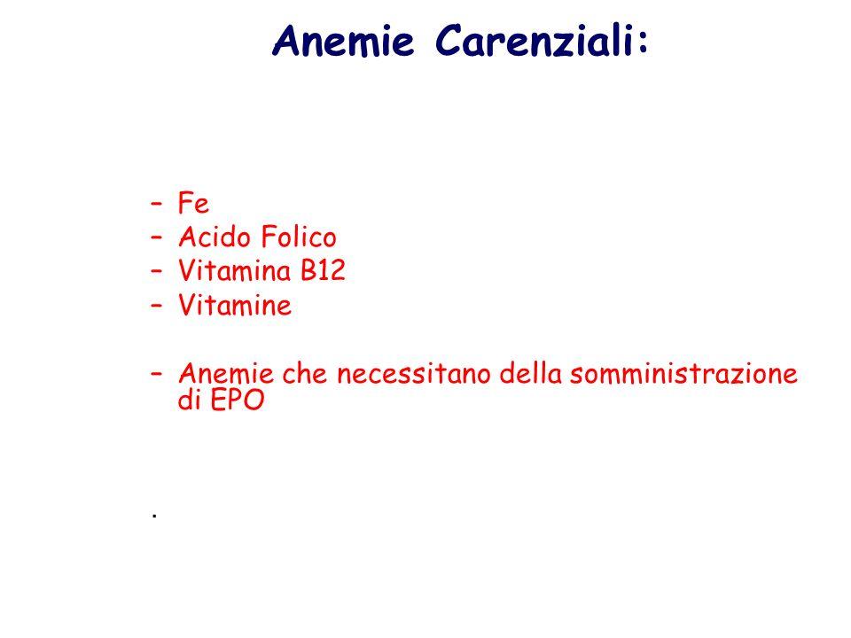 Anemie Carenziali: Fe Acido Folico Vitamina B12 Vitamine