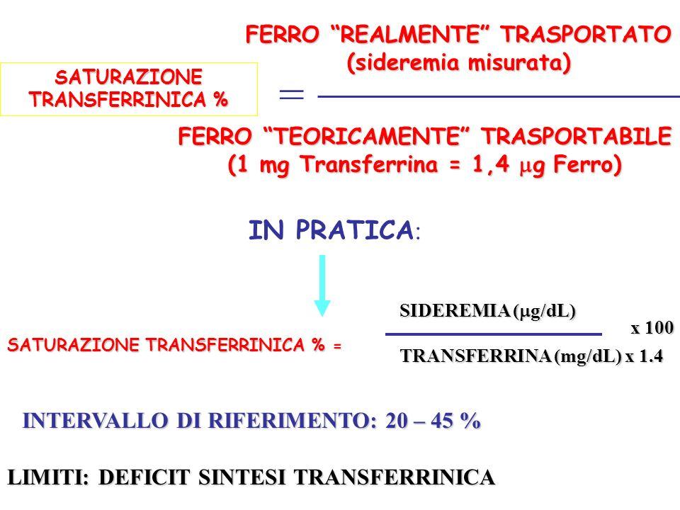 = IN PRATICA: FERRO REALMENTE TRASPORTATO (sideremia misurata)