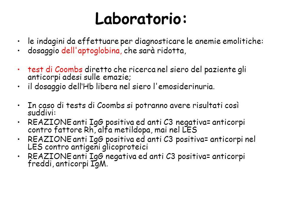 Laboratorio: le indagini da effettuare per diagnosticare le anemie emolitiche: dosaggio dell aptoglobina, che sarà ridotta,