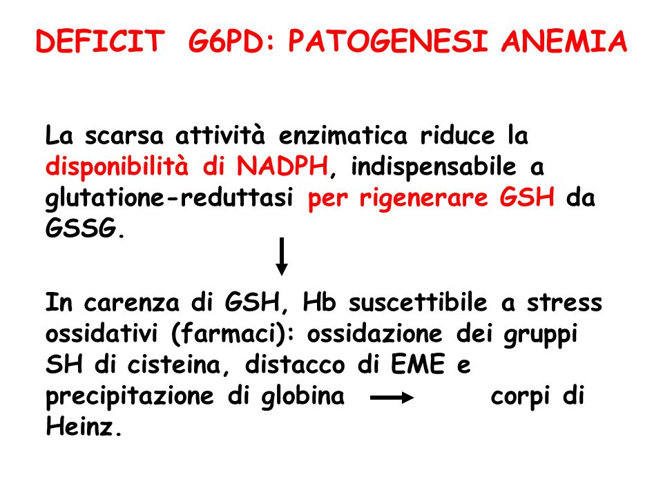 DEFICIT G6PD: PATOGENESI ANEMIA
