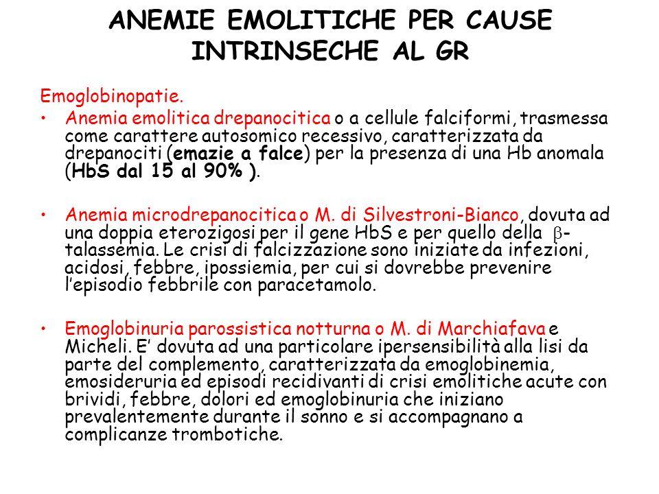 ANEMIE EMOLITICHE PER CAUSE INTRINSECHE AL GR