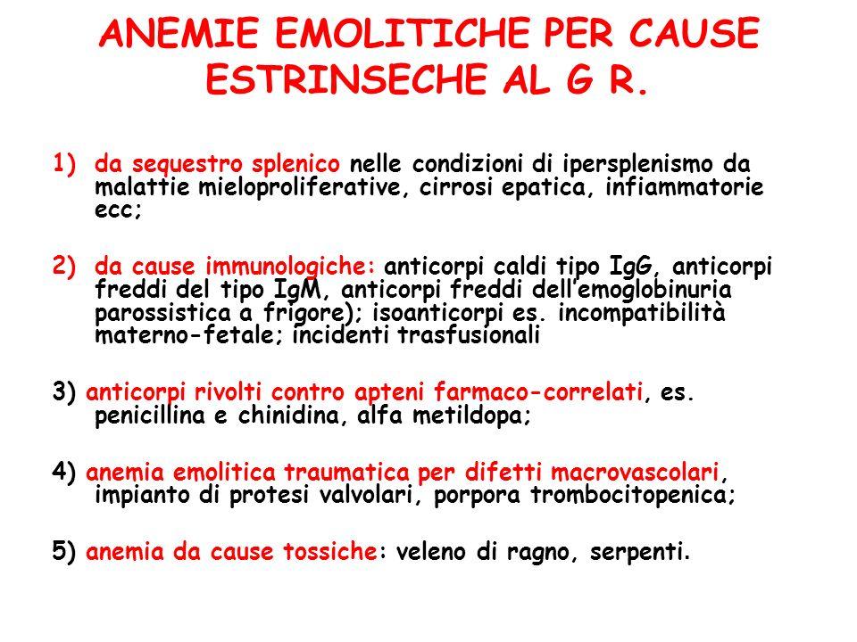 ANEMIE EMOLITICHE PER CAUSE ESTRINSECHE AL G R.