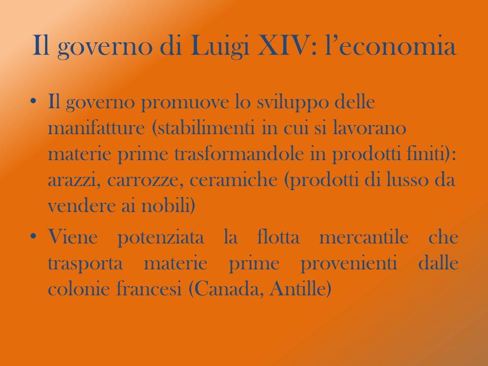 Il governo di Luigi XIV: l'economia