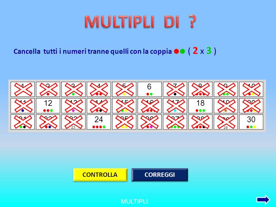 MULTIPLI DI Cancella tutti i numeri tranne quelli con la coppia  ( 2 x 3 ) 1. 2. l. 3.