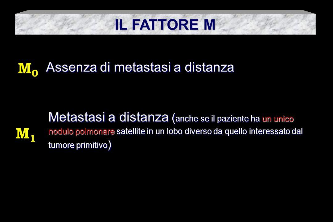 IL FATTORE M M0 M1 Assenza di metastasi a distanza