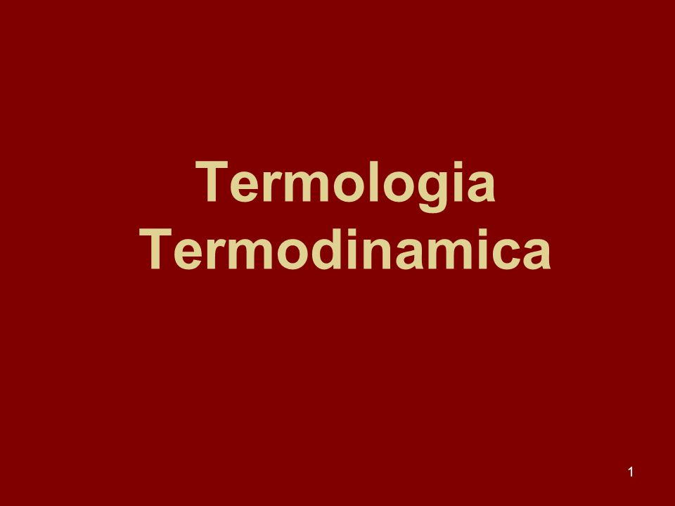 Termologia Termodinamica