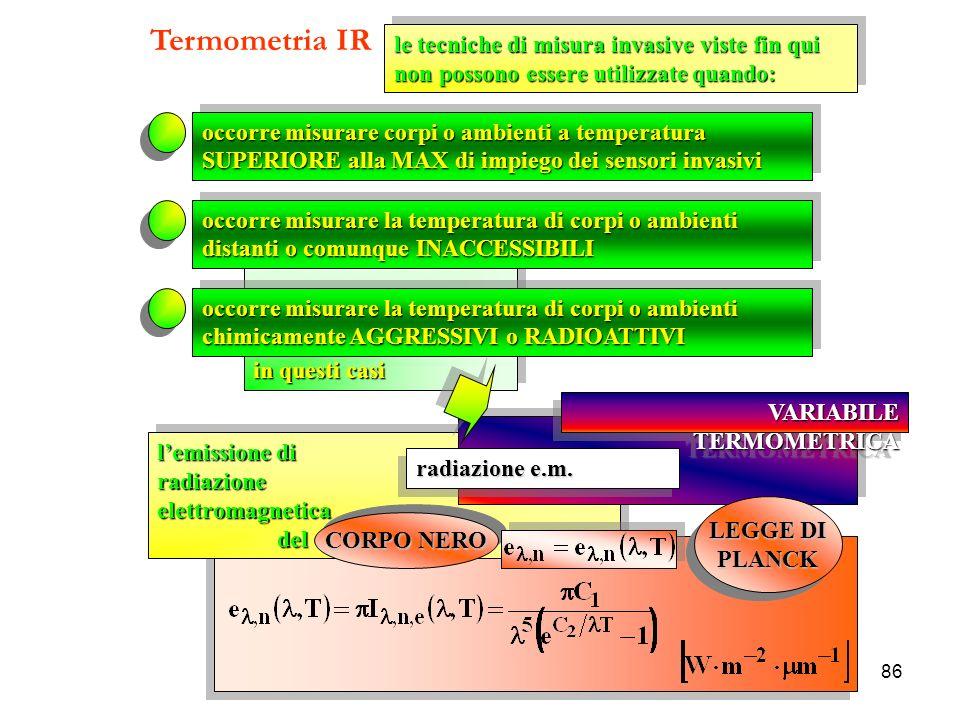 Termometria IR le tecniche di misura invasive viste fin qui non possono essere utilizzate quando: