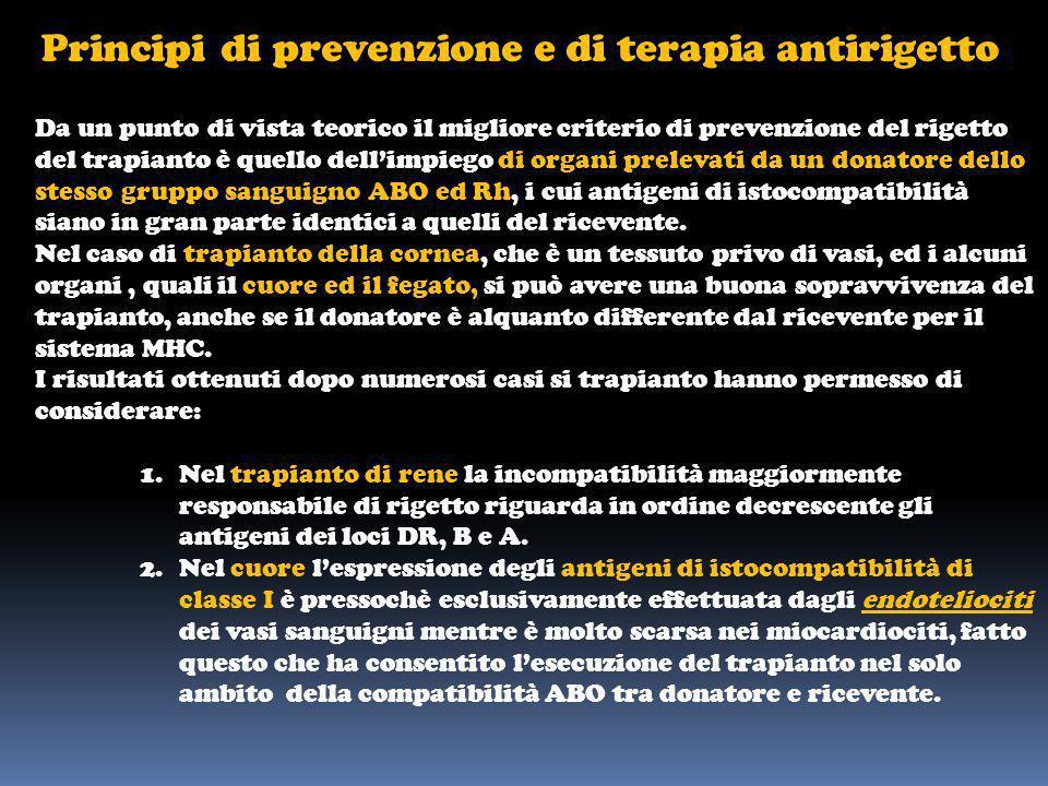 Principi di prevenzione e di terapia antirigetto