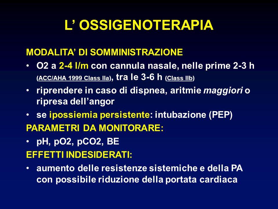 L' OSSIGENOTERAPIA MODALITA' DI SOMMINISTRAZIONE