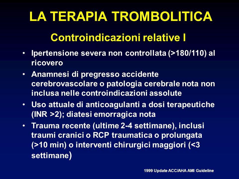 LA TERAPIA TROMBOLITICA Controindicazioni relative I