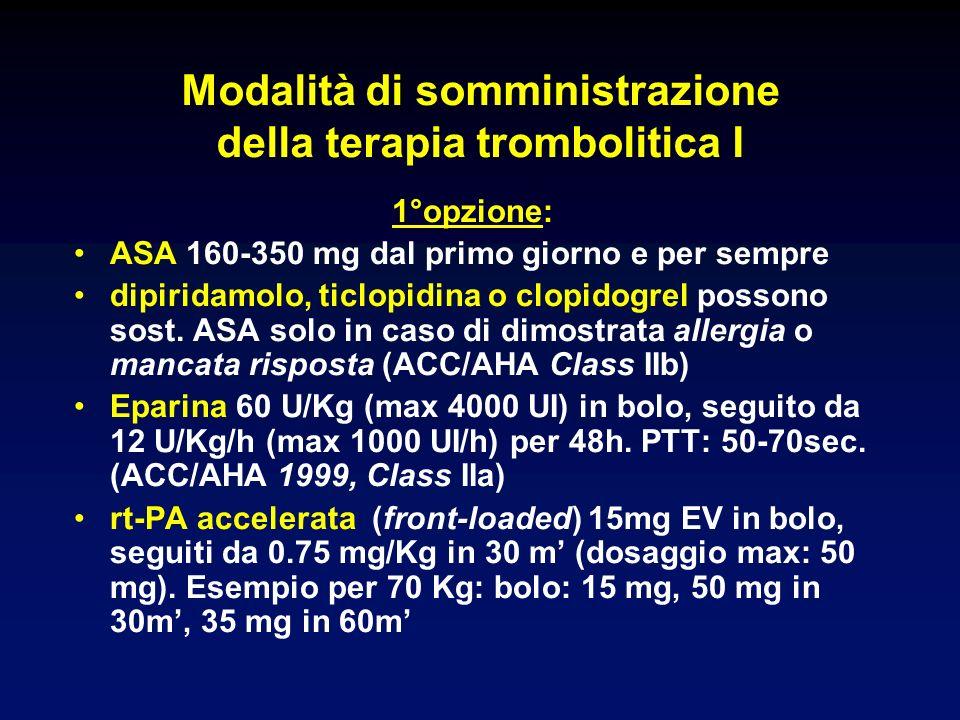 Modalità di somministrazione della terapia trombolitica I