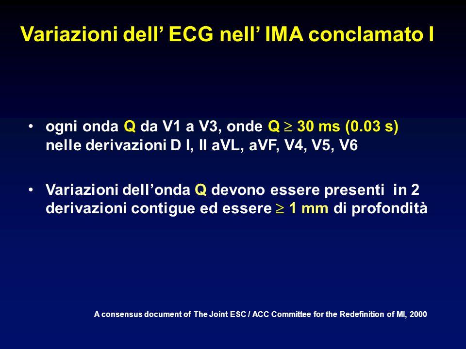 Variazioni dell' ECG nell' IMA conclamato I
