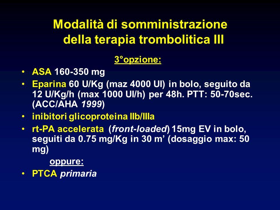 Modalità di somministrazione della terapia trombolitica III