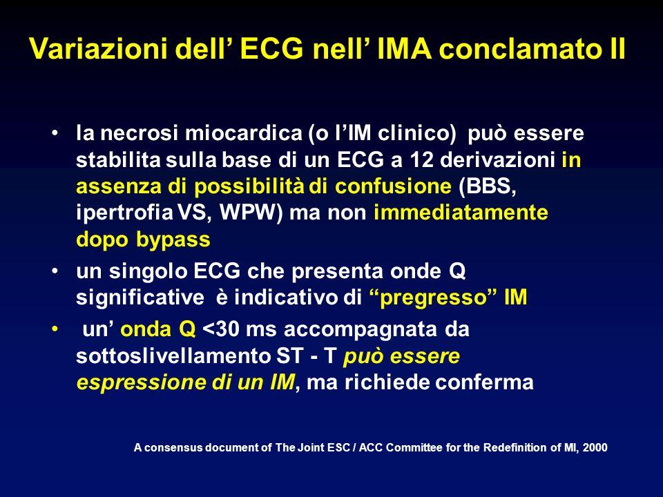 Variazioni dell' ECG nell' IMA conclamato II
