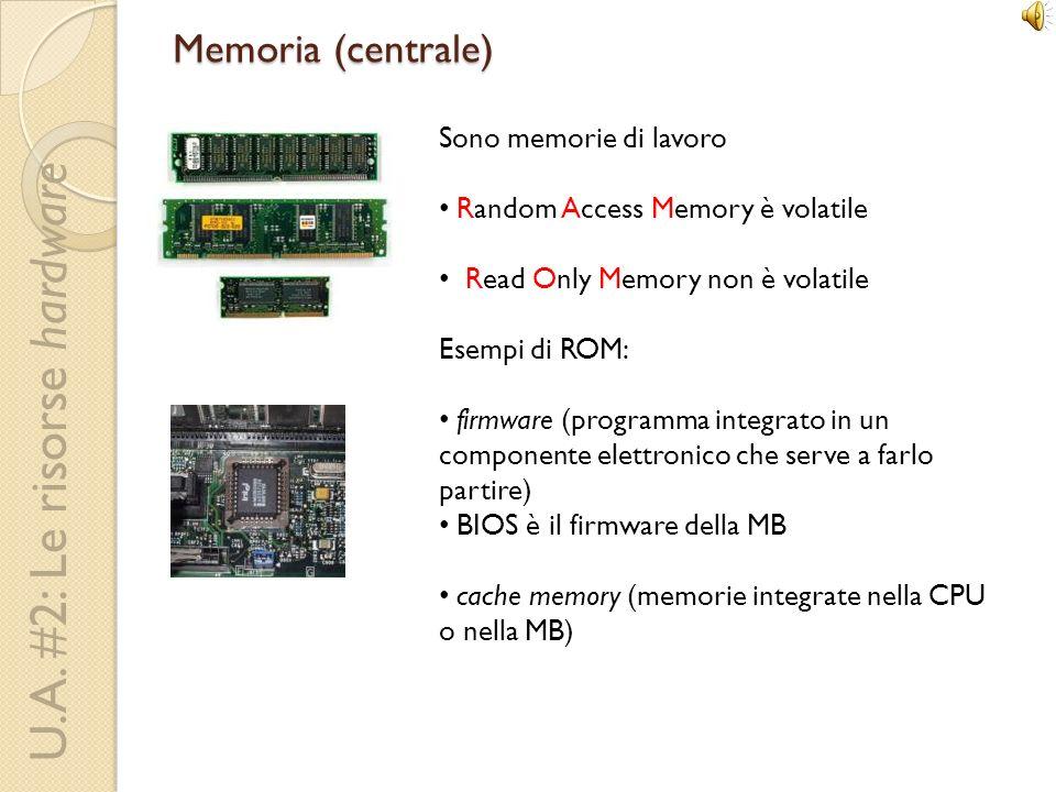 Memoria (centrale) Sono memorie di lavoro