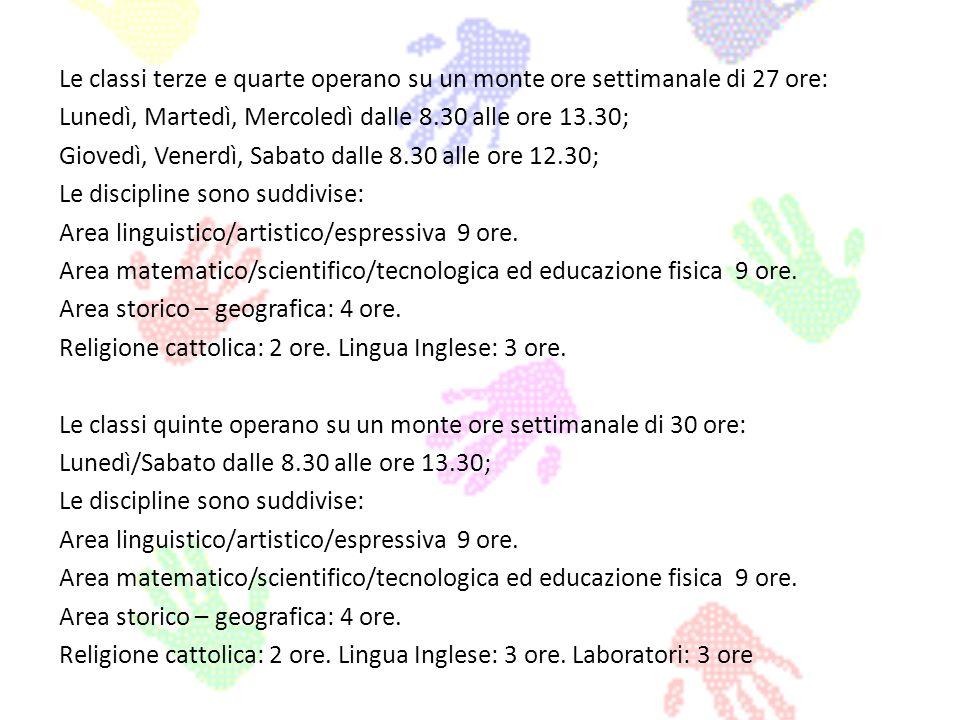 Le classi terze e quarte operano su un monte ore settimanale di 27 ore: Lunedì, Martedì, Mercoledì dalle 8.30 alle ore 13.30; Giovedì, Venerdì, Sabato dalle 8.30 alle ore 12.30; Le discipline sono suddivise: Area linguistico/artistico/espressiva 9 ore.