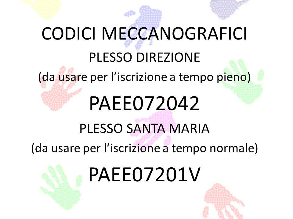 PAEE072042 PAEE07201V CODICI MECCANOGRAFICI PLESSO DIREZIONE
