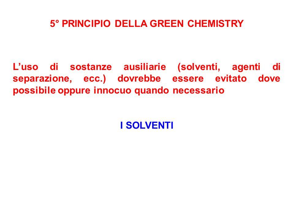 5° PRINCIPIO DELLA GREEN CHEMISTRY
