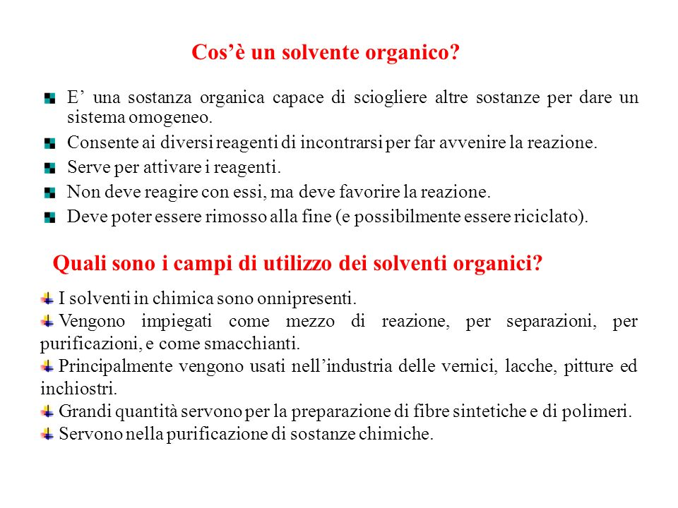 Cos'è un solvente organico