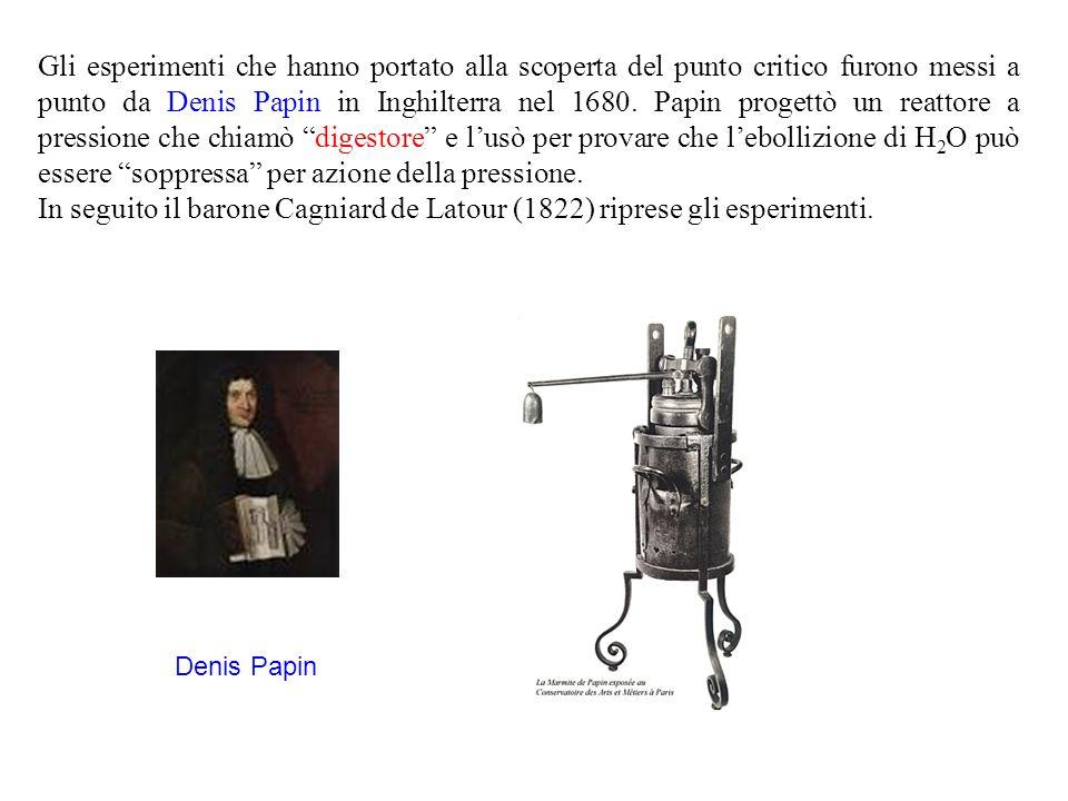 Gli esperimenti che hanno portato alla scoperta del punto critico furono messi a punto da Denis Papin in Inghilterra nel 1680. Papin progettò un reattore a pressione che chiamò digestore e l'usò per provare che l'ebollizione di H2O può essere soppressa per azione della pressione.
