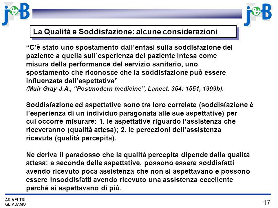La Qualità e Soddisfazione: alcune considerazioni