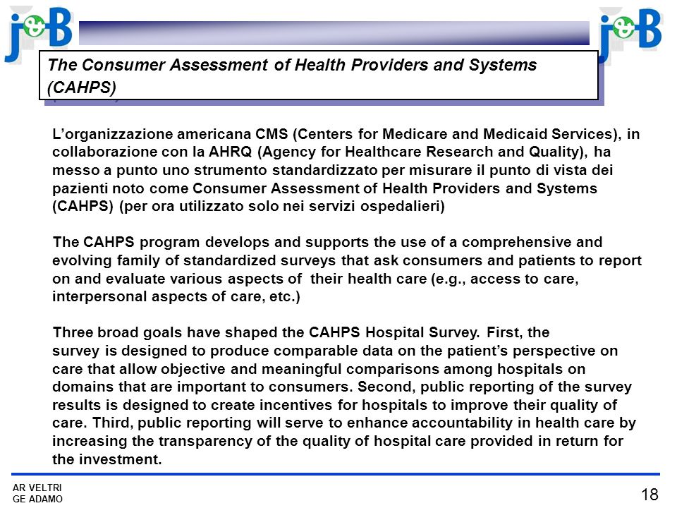 The Consumer Assessment of Health Providers and Systems (CAHPS)