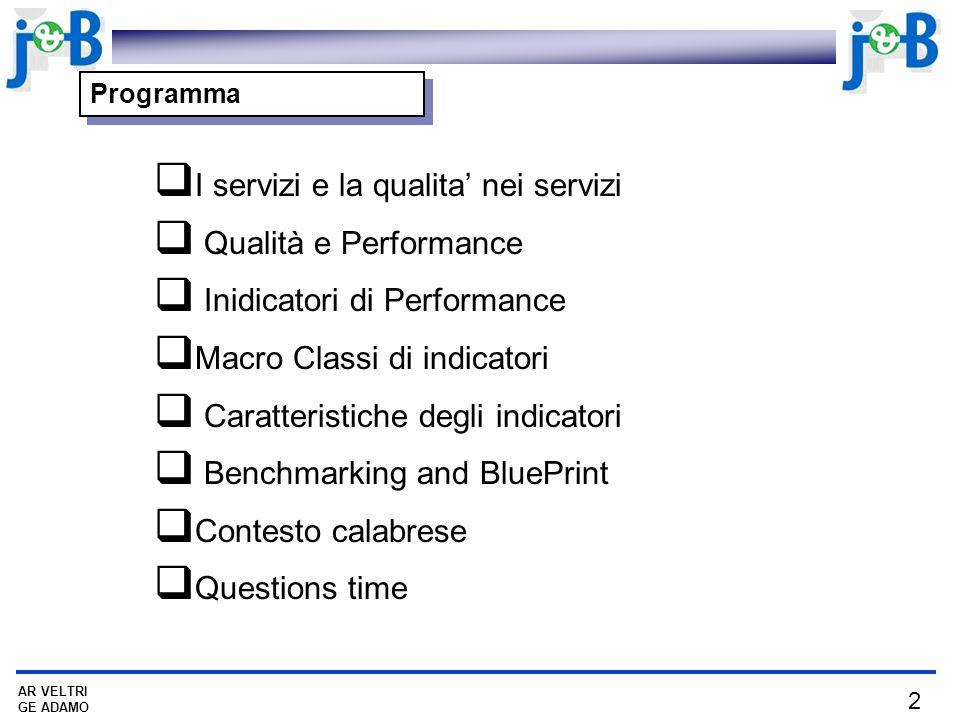 I servizi e la qualita' nei servizi Qualità e Performance